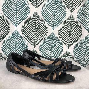Torrid Strappy Peep Toe Sandals Black Wide